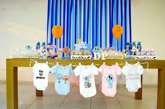 Cortina de Papel Crepom azul para chá de bebê