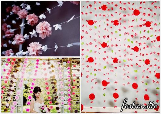Cortina de Papel Crepom modelos com flores e pompom
