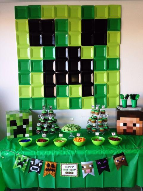 decoração barata festa Minecraft