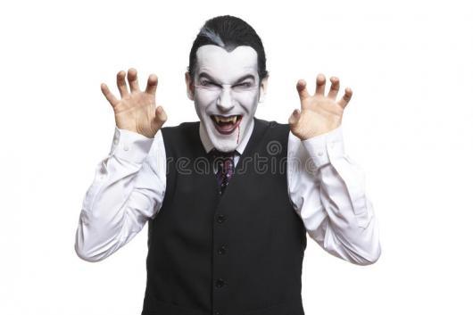 Fantasia de Vampiro masculina assustadora com colete e camisa branca social