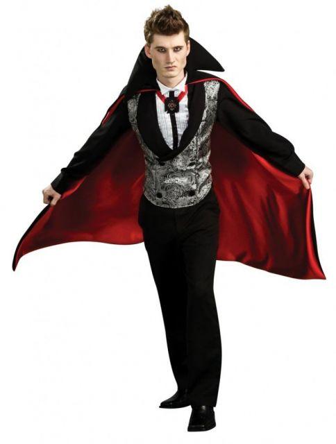 Fantasia de Vampiro masculina moderna com capa vermelha e preta