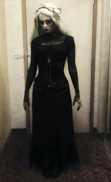 Fantasia de Vampiro feminina assustadora com vestido preto longo