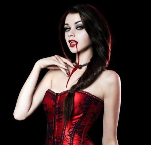 Fantasia de Vampiro assustadora com espartilho vermelho
