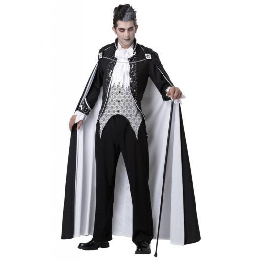 Fantasia de Vampiro masculina preta e branca assustadora