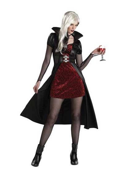 Fantasia de Vampiro feminina sensual com vestido vermelho curto