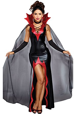 Fantasia de Vampiro feminina de couro com capa