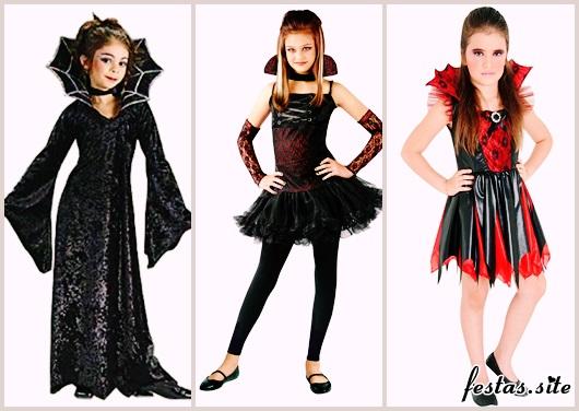Fantasia de Vampiro feminina infantil modelos preta e vermelha