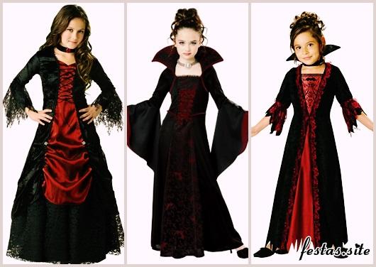 Fantasia de Vampiro feminina infantil com vestido longo
