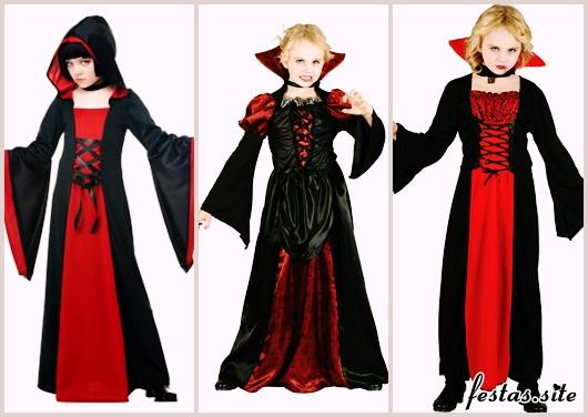 Fantasia de Vampiro preta e vermelha feminina infantil