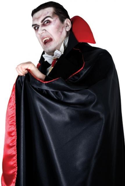 Fantasia de Vampiro masculina com capa vermelha e preta