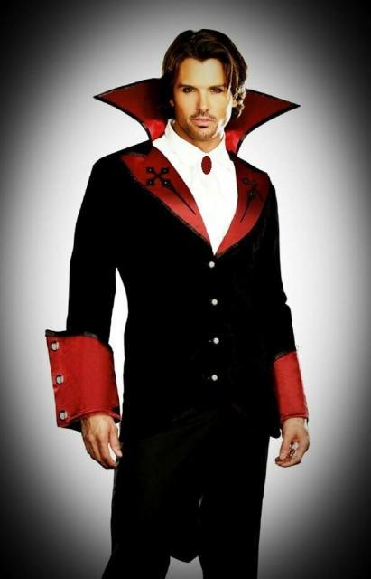 Fantasia de Vampiro masculina moderna preta e vermelha