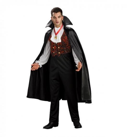 Fantasia de Vampiro masculina moderna com capa preta