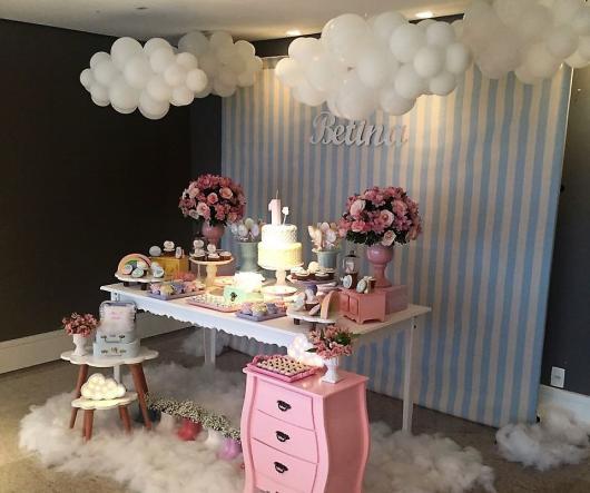 Festa Chuva de Amor decoração provençal azul e rosa