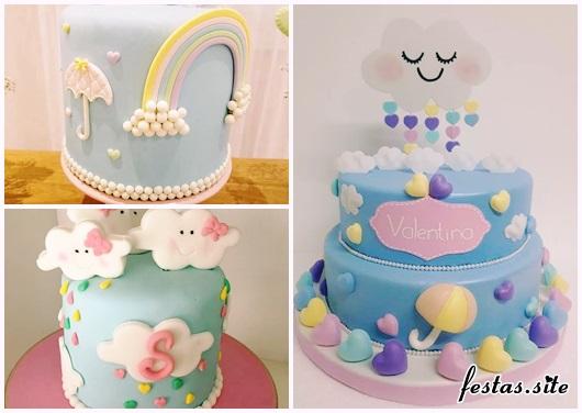 Festa Chuva de Amor modelos de bolos decorados