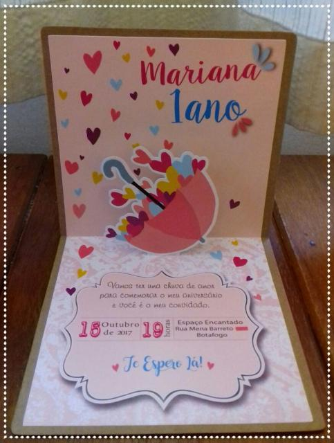 Festa Chuva de Amor modelo de convite 3D