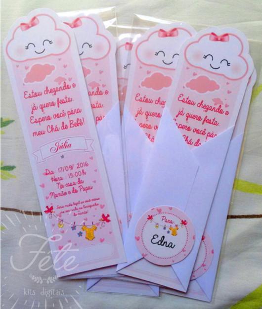 Festa Chuva de Amor convite no formato de marcador de página