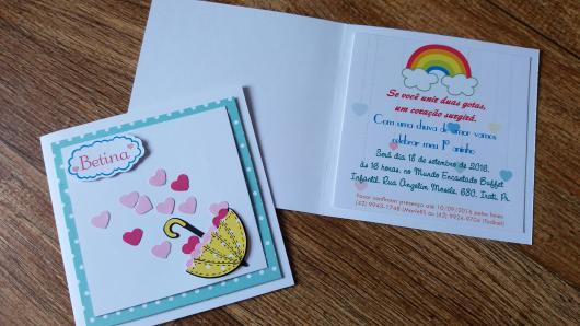 Festa Chuva de Amor convite scrapbook