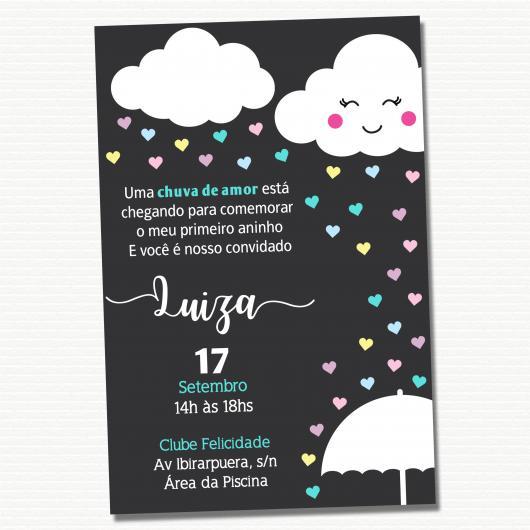 Festa Chuva de Amor convite Chalkboard