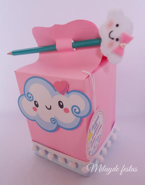 Festa Chuva de Amor lembrancinha caixinha de doces