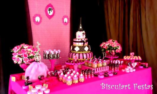Festa da Barbie Paris preta e rosa