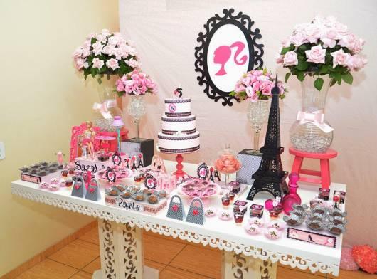 Festa da Barbie Paris preta branca e rosa