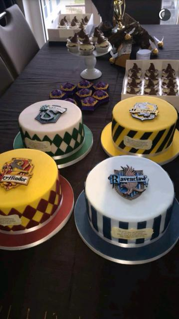 Festa Harry Potter bolos redondos das casas