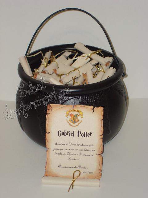 Festa Harry Potter modelo de lembrancinha carta de agradecimento