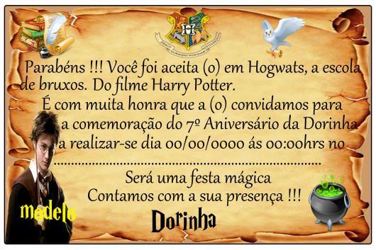 Festa Harry Potter convite cartão