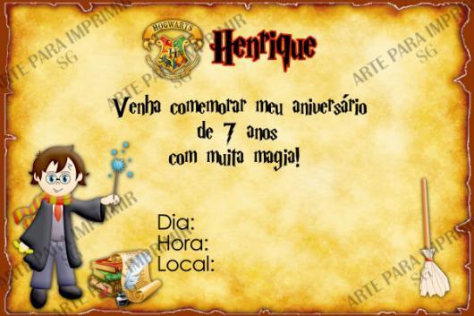 Festa Harry Potter modelo de convite personalizado