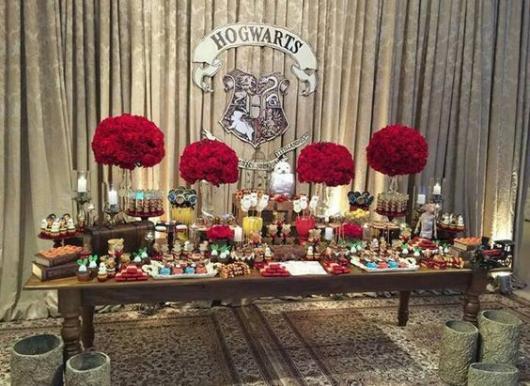 Festa Harry Potter decoração com flores