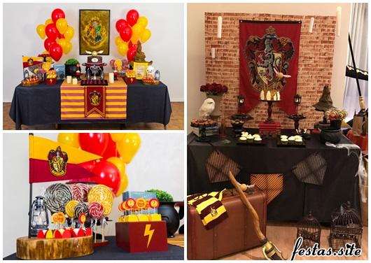 Festa Harry Potter decoração amarela e vermelha