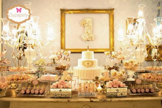 Festa Princesa rosa e doura de 1 ano
