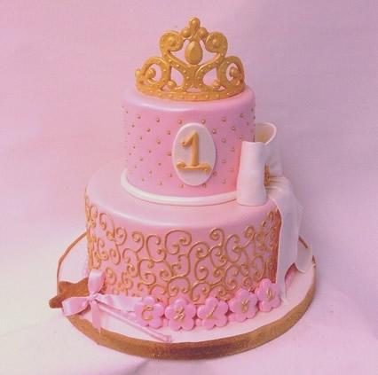 Festa Princesa modelo de bolo rosa e dourado