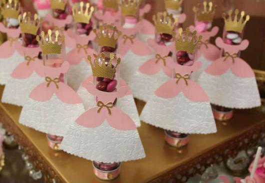 Festa Princesa tubete personalizado com aplique de vestido e coroa