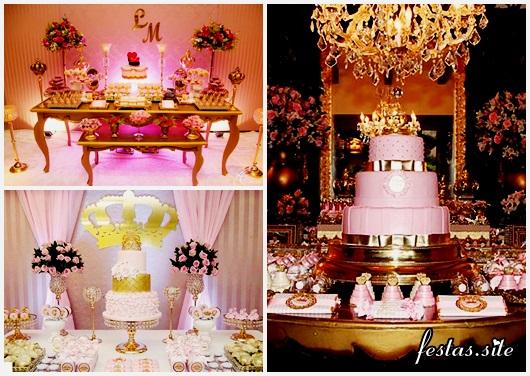 Festa Princesa rosa e dourado modelos