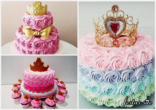 Festa Princesa modelos de bolo decorado com chantilly