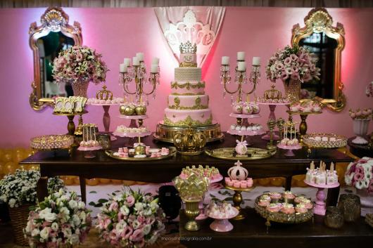 Festa Princesa rosa e dourado rústica