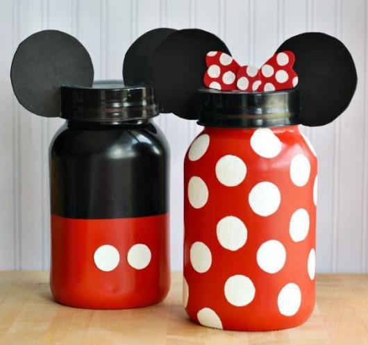 Lembrancinhas do Mickey pote de maionese reciclado