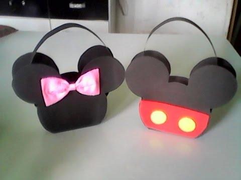 Lembrancinhas do Mickey cestinha de doces de EVA