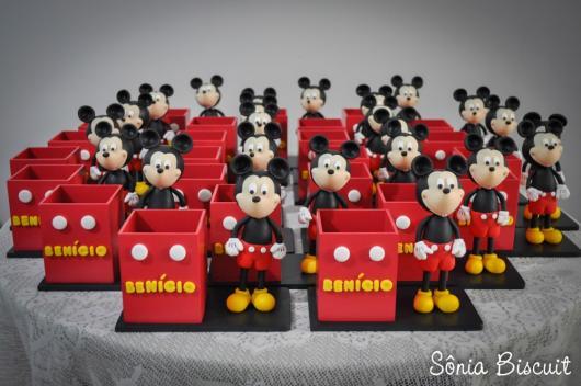 Lembrancinhas do Mickey porta caneta personalizado com biscuit
