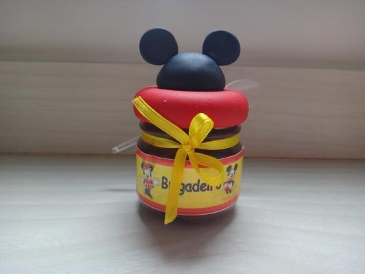Lembrancinhas do Mickey potinho de papinha personalizado com biscuit