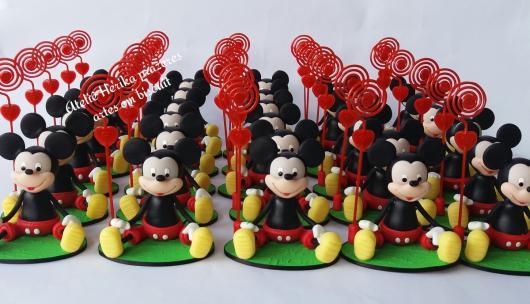 Lembrancinhas do Mickey porta bilhete de biscuit