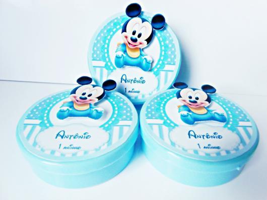 Lembrancinhas do Mickey baby latinha personalizada