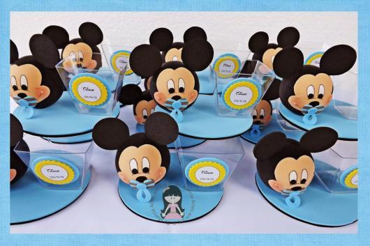 Lembrancinhas do Mickey baby porta bala azul de biscuit