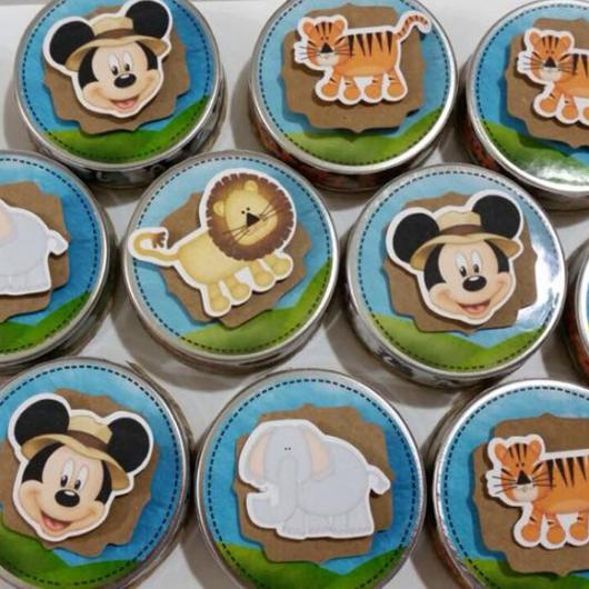 Lembrancinhas do Mickey safari latinha personalizada