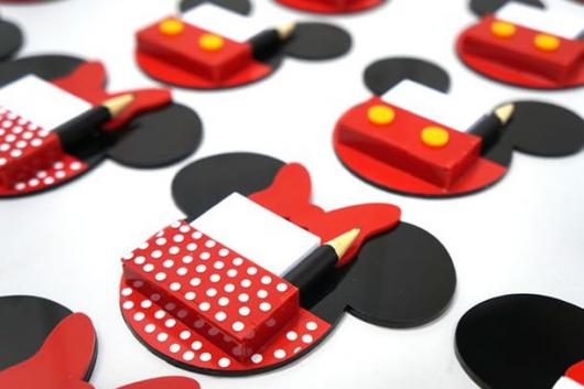 Lembrancinhas do Mickey e Minnie bloquinho de recados