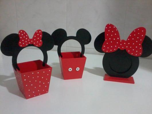 Lembrancinhas do Mickey e Minnie porta treco e porta bombom