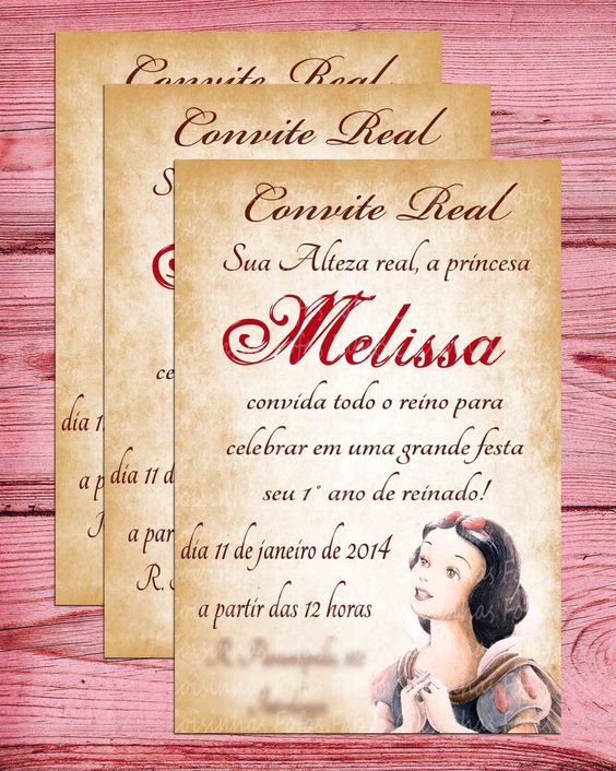 52 Convites Branca De Neve Apaixonantes Para Editar Imprimir Grátis