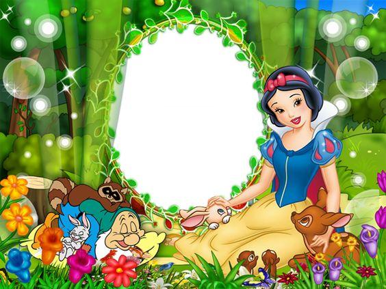 Convite com imagem da Branca de Neve, o Soneca e alguns animais.