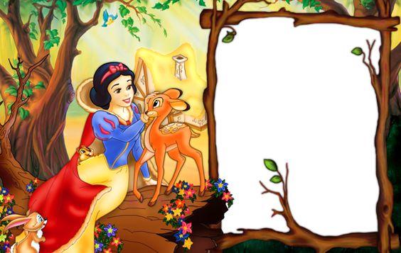 Convite com desenho da Branca de Neve, brincando com animais.